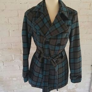 Jou Jou belted blue and gray plaid jacket S